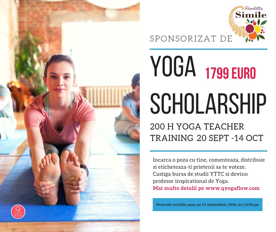 Obtine Bursa Yoga de Studii (1799 euro) Devino Profesor Inspirational De Yoga