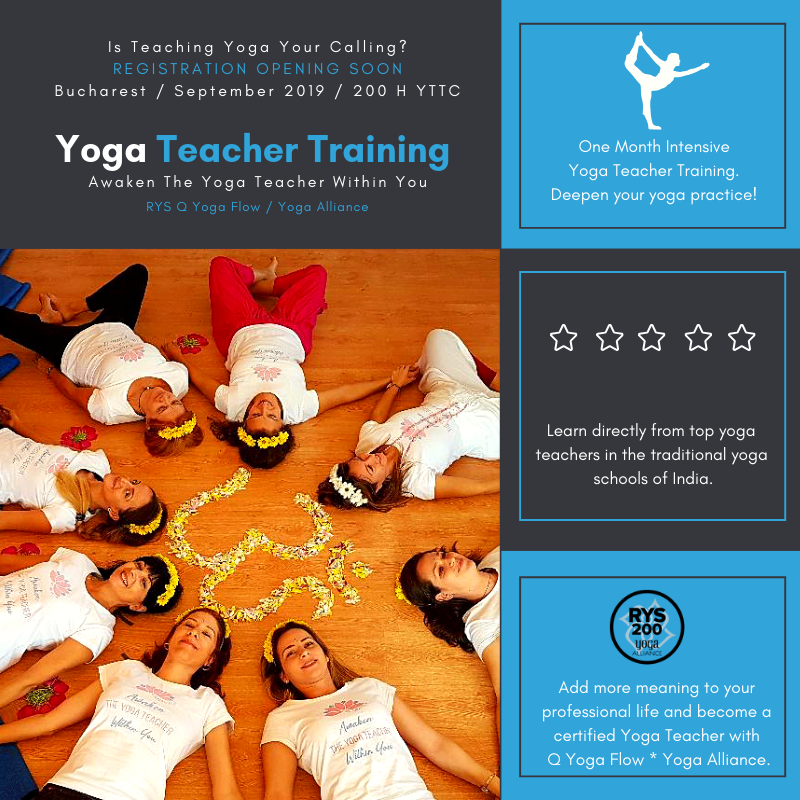 Yoga Teacher Training – 200 HOUR CERTIFICATION – Bucharest – September 2019
